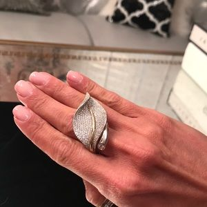 Jewelry - Sterling silver and 14k gold pave leaf ring